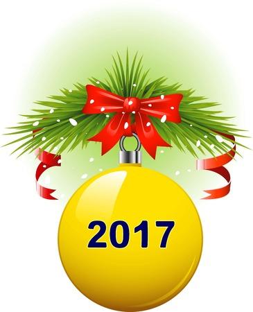 Vector Yellow Christmas ball in 2017, eps 10
