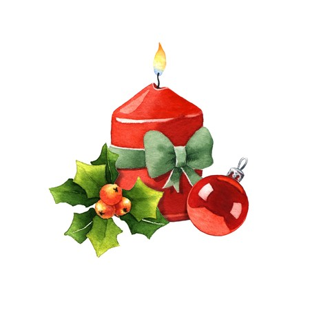 white candle: Candle with Christmas decoration. Watercolor illustration on a white background Stock Photo