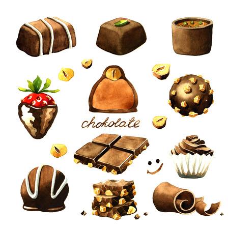 チョコレートの水彩アート。白い背景に分離 写真素材