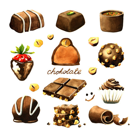 Chocolate watercolor clipart. Isolated on white background