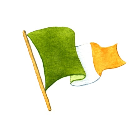 colour image: Irish flag. Watercolor illustration on white