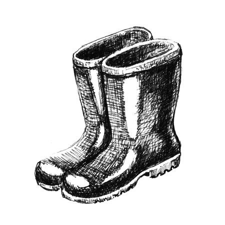 ゴム長靴。手描きのスケッチ