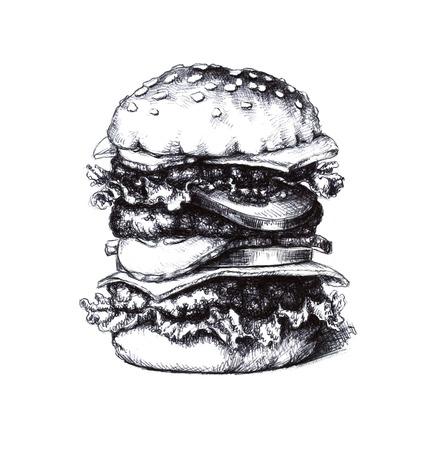 bollos: Hamburguesa. Un boceto dibujado a mano Foto de archivo