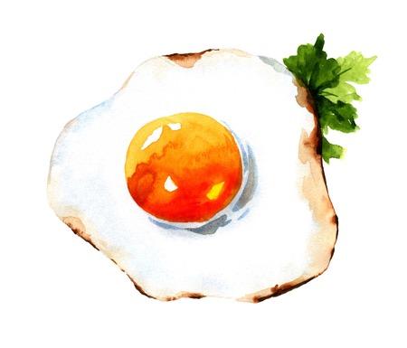 Fried egg. Watercolor illustration