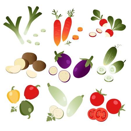 Set of vegetables on white background. eps 10 Illustration