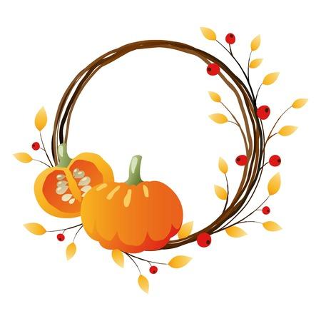 Autumn wreath with pumpkins on white background
