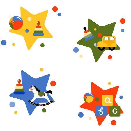 Cuatro ilustraciones vectoriales con juguetes para niños. Eps 10 Foto de archivo - 98709173
