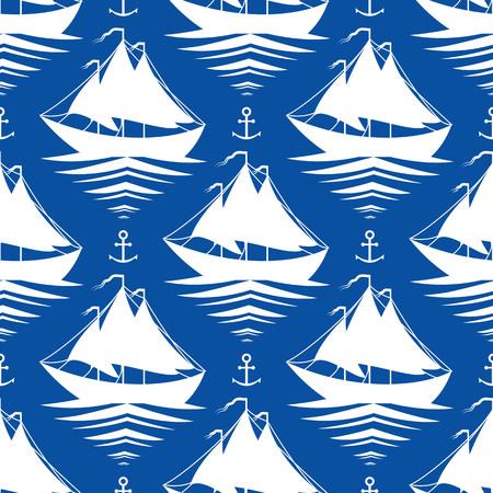 modelo inconsútil azul con los veleros y anclajes