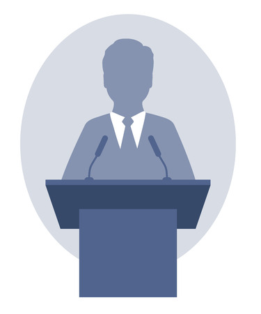 Vector illustration of a man speaking a speech from the rostrum. Eps 10 Ilustrace