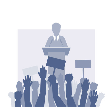 Speaker stands in front of the crowd. Vector illustration. Eps 10