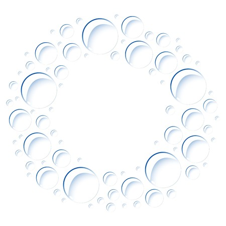 Soap bubbles located on a circle. Vector image. Eps 10