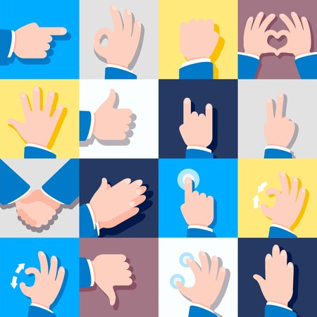 Collection of icons with hand gestures. Vector illustrations. Eps 10.