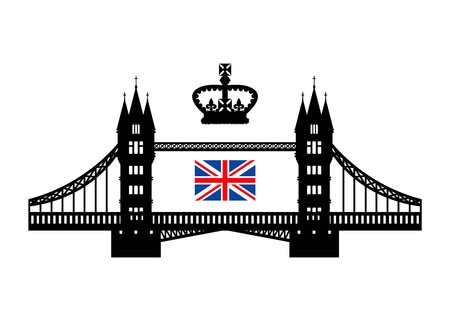 Vector illustration symbolizing the UK. Tower bridge, royal crown and flag. Eps 10 Stock Illustratie