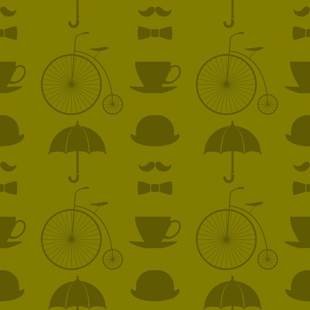 Seamless green pattern with retro elements