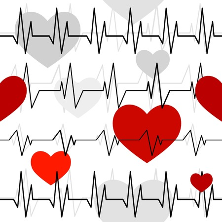 Seamless pattern with a cardiogram of heart rhythms.