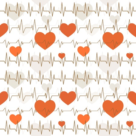 Seamless white pattern with a cardiogram of heart rhythms.