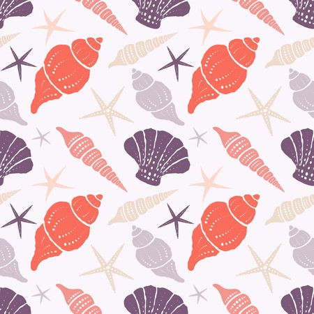 Seamless pattern with seashells and starfish on a light background. Stock Photo