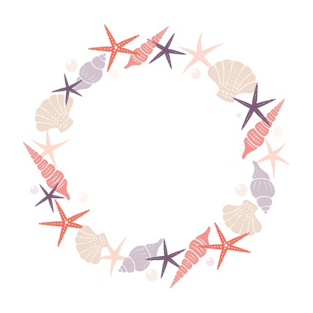 Wreath of marine elements. Isolated vector image.
