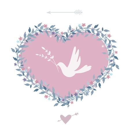 Flower heart with bird. Vintage design elements. Vector. Ilustração