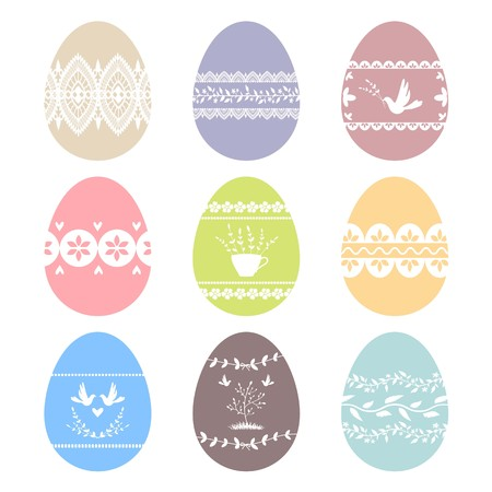 Collection of decorated Easter eggs. Vector images.