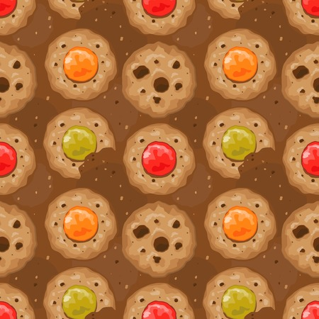 Beige seamless pattern with cookies and hearts.