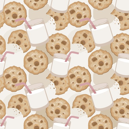 Seamless pattern with a glass of milk and cookies