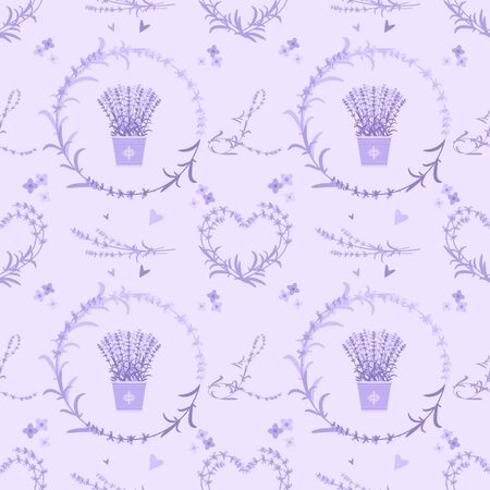 Lavender seamless pattern with repeating floral elements. Banque d'images - 124949948