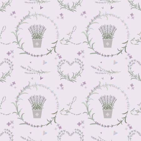 Lavender seamless pattern with repeating floral elements.