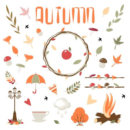 Collection of vector autumn elements for design. Eps 10