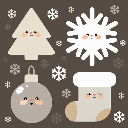 Nice characters of the new year. Isolated vector image. Eps 10