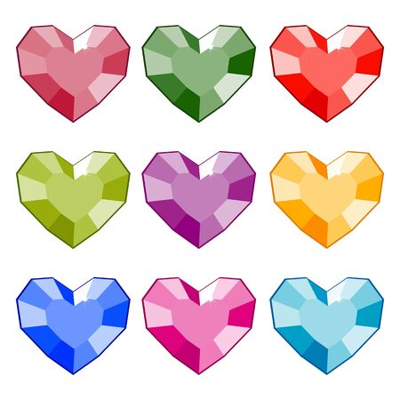 Gemstones in the shape of a heart. Isolated vector image. Eps 10 Illusztráció