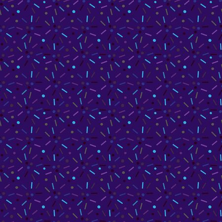 Dark purple jpeg seamless pattern with colored confetti. 版權商用圖片