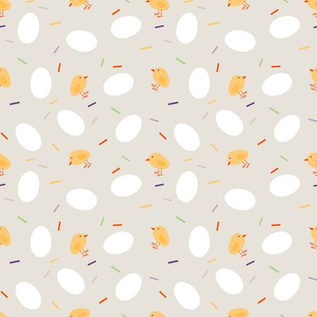 Easter seamless jpeg pattern with chickens and eggs.