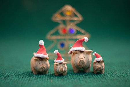 cute pig: three pigs wearing christmas hat stand on green background Stock Photo