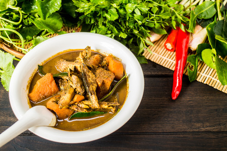Kaeng Tai Pla: It is a curry of southern Thai cuisine. Its name is derived from tai pla, a salty sauce made from fermented fish entrails which gives the curry a strong smell and flavor.
