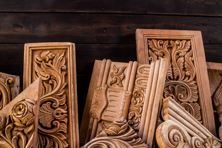 Teak wood carving NO.007: Intricate and decorative wooden handicrafts from Thailand.