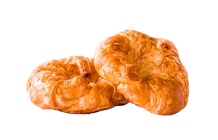 Isolated freshly croissant on white background  . It is a type of French pastry suitable as breakfast. It can be purchased at bakery worldwide.