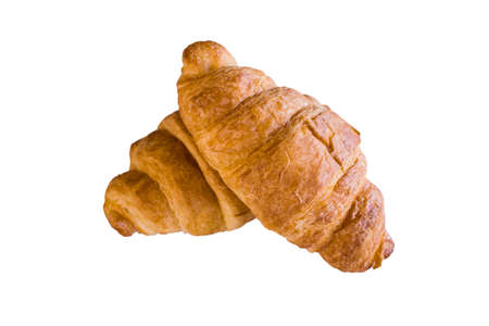Isolated top view freshly croissant on white background  . It is a type of French pastry suitable as breakfast. It can be purchased at bakery worldwide. 版權商用圖片