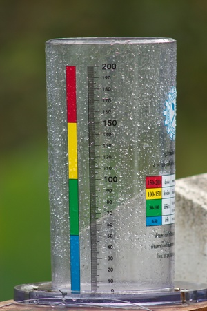 Measurable rainfall. Placed outdoors. How much rain has been devoted to the calculation. The amount of rainfall. Stock Photo