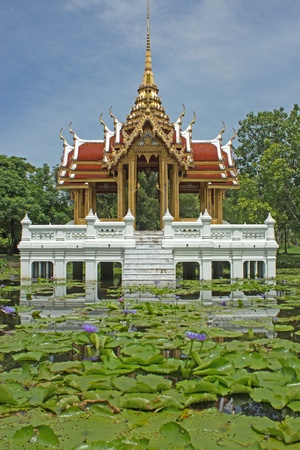 Thai-style pavilion, water.  Stock Photo
