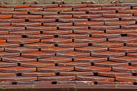 Tile roof. Made to resemble an ancient wooden roof. The current tile is burned.Tile roof.  Stock Photo