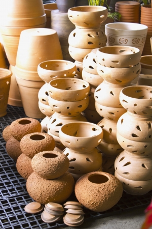 Earthenware A container made   of clay  Molded into shapes and baked for durability in use Stock Photo