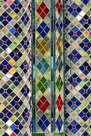 Stained glass ornaments made by building temples and colorful. Stock Photo