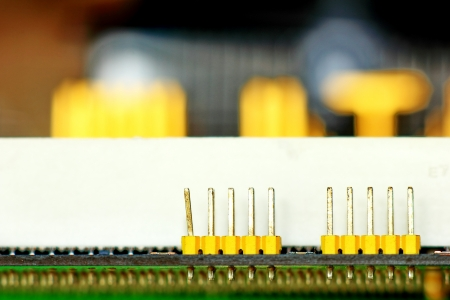 Computer circuit boards and components. Connection to work. Stock Photo