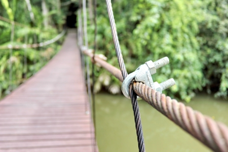 Pinned with wooden rope bridge across the river