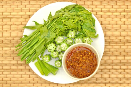 neem: Neem okra, eggplant, chili, vegetables, flax meal in rural Thailand.