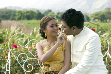 prewedding: Love, marriage, married couples to start happy young smiling laughter Stock Photo