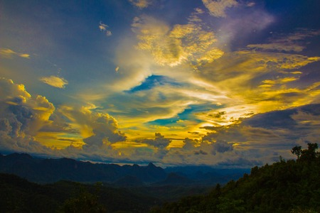 Mountains and cloudy skies calming colors supremely fascinating Stock Photo
