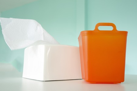 tissue paper: Trash box, tissue paper and set dining table Stock Photo