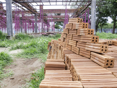 Red bricks made from clay that has been burned to the hardness. Used in general construction